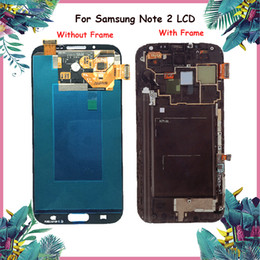 Wholesale note lcd screen replacement - 100% Original LCD For Samsung Galaxy Note 2 N7100 N7105 LCD Display Touch Screen With Frame Full Assembly Replacement Parts For Samsung LCD