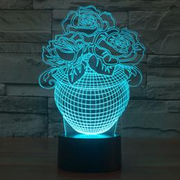 2019 farbwechselladegeräte 3D Licht Rose Blumenvase Nachtlicht 7 Farbwechsel LED Tisch Schreibtischlampe USB Ladegerät Home Decoration drop shipping Kostenloser Versand rabatt farbwechselladegeräte