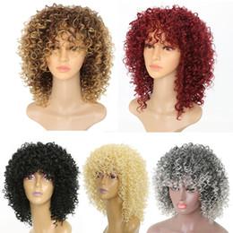 kagamin kostüm Rabatt Kurzes Haar Synthetische Hitzebeständige Afro Verworrene Lockige Perücke für Schwarze Frauen