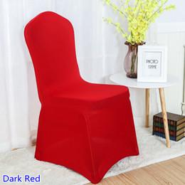 Pisos de color rojo oscuro online-Cubierta de la silla de spandex color rojo oscuro frente plano de lycra cubierta de la silla del banquete de estiramiento para la decoración de la boda al por mayor en venta