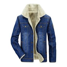 Wholesale jaqueta jeans masculina - IN-YESON Brand Fleece Denim Jacket Men New Fashion Retro Thick velvet Jacket jaqueta masculina Blue Jeans Big Size 4XL