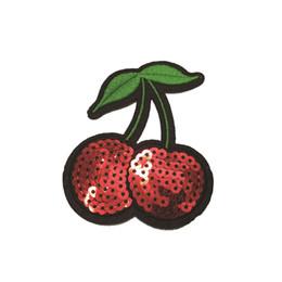 2019 appliques paillettes de fer 100pcs Sequin Cherry (Fer Sur) Broderie Applique Patch Coudre Fer Badge 6x7.5cm appliques paillettes de fer pas cher
