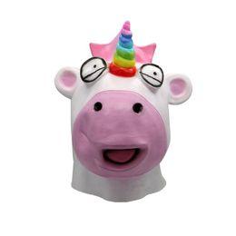 Historieta de la máscara de los payasos online-Máscara de unicornio Horror de Halloween Látex de dibujos animados de cara completa Animal Prop Props para adultos Máscara de payaso Head Cover Halloween Supplies OOA5640