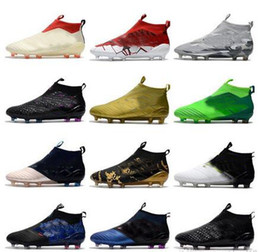 Wholesale ups ground - Ace 17+ Purecontrol Champagne Outdoor Soccer Cleats Firm Ground Cleats Training FG NSG ACE 17 Mens Football Boots Turf Soccer