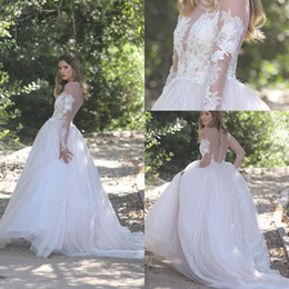 Wholesale Lace Back Wedding Dress Designer - 2018 Designer Country Plus Size Lace Wedding Dresses Sheer Neck Long Sleeves Tiered Tulle Illusion Back Bridal Gowns Custom Made