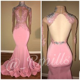 Wholesale mermaid open back dresses - 2018 Modest High Neck Long Sleeves Prom Dresses Mermaid Applique Sequins Sexy Open Back Evening Gowns Robe de soriee Custom Made
