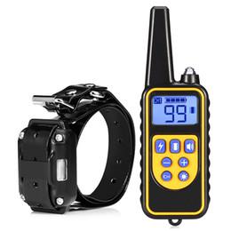 Collares de control de perro de control remoto online-Collares de entrenamiento Perro recargable Mascota Collar de entrenamiento eléctrico Control remoto a prueba de agua Entrenamientos para perros con pantalla LCD para todos los tamaños