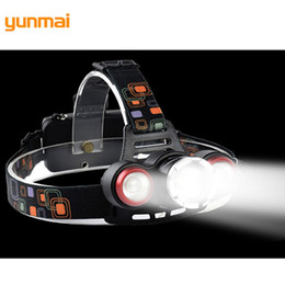 Wholesale Focus Light Bulbs - Focus Light XML-T6+LTS LED Headlight Rechargebale 3 Modes Powerful Headlamp Frontal Lantern LED Zaklamp Light For Hunting Bike