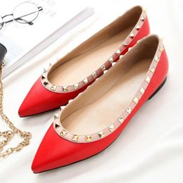 Wholesale Metal Shoe Soles - Newest Luxury Brand Women Rivets Flats Rockstud Ballerina Shoes Vogue Girl Pointed Toe Flats Metal Leather Sole Shoes Solid Colour