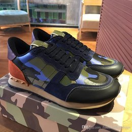 Wholesale quality trim - 2018 High Quality Garavani Camouflage Leather And Suede Trim Canvas Sneaker Fashion Army Green Blue Sneaker Leather Shoes With Box