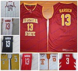 Wholesale arizona states - NCAA Arizona State Sun Devils 13 James Harden Wake Forest #3 Chris Paul 34 Hakeem Olajuwon Vintage College Basketball Jerseys Stitched
