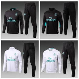 Wholesale Free Soccer Training - 2017 2018 best quality Real Madrid training suits soccer sets black white 17 18 real madrid tracksuits RONALDO hoodie free shipping