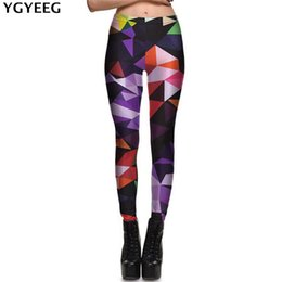 Wholesale Sexy Silver Leggings - YGYEEG New Women Colours Geometric Diamond Leggings Elastic Fitness Digital Printed Elastic Thin Punk Fahsion Sexy Ladies Pants