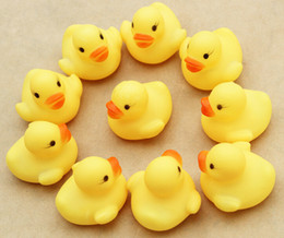 Wholesale yellow rubber ducks - 50PCS Mini Yellow Rubber Ducks Baby Bath Water Duck Toy Sounds Kids Bath Small Duck Toy Children Swimming Beach Gifts