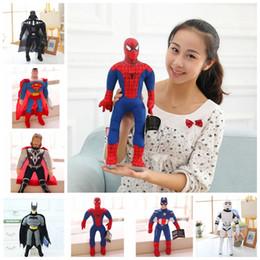Wholesale spiderman toys doll - 40cm Avengers Spiderman Iron Man Captain America Superman Stuffed Plush Toys Doll for Kids Children Novelty Items OOA5015
