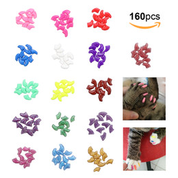 Wholesale glue caps - Pet Nail Caps Claws Protector Cover For Cat Pet Kitten Anti Scratch With Adhesive Glue PVC Material