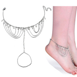 Anklet pearl silver online-New Women Gril Tassel Chain pearl silver color Metal Chain Anklet beach summer Ankle Bracelet Catena del piede Jewelry Beach Anklets 320135