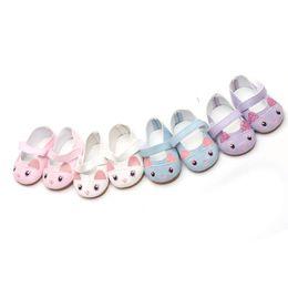 Gato das sapatas de couro das meninas on-line-2018 cat doll shoes mini sapatos de couro cat american girl boneca moda tendência artesanal transporte da gota