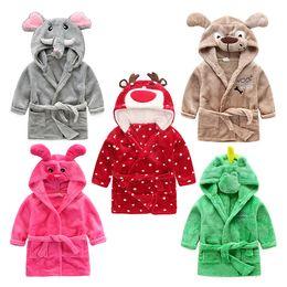 Wholesale wholesale girls bathrobes - Children Bathrobe Cartoon Animal Pajamas Hooded Children Bathrobe for Boys Girls Sleepwear Christmas Reindeer Bath Robe home clothin T2I243