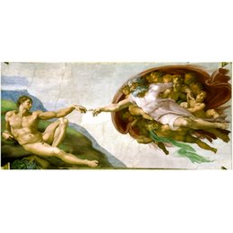Wholesale famous paintings posters - Canvas Art Print Creation of Adam Fresco Painting By Michelangelo World Famous Painting Canvas Wall Picture Wall Art Poster
