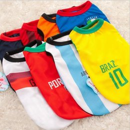 Wholesale Football Dogs - 2017 spring and summer General small dog clothes Pet Puppy World Cup clothing Polyester football sportswear Mesh breathable vest 8 teams