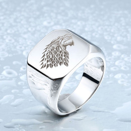 Wholesale African Animals Games - Stainless Steel Game Thrones Ice Wolf House Stark Of Winterfell Biker Animal Ring Fashion Jewelry