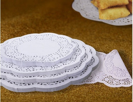 white paper placemat Australia - 280pc(4.5' 140pc+5.5'140pc) White Paper Lace Doilies Placemat Craft Doyleys Wedding Christmas Tableware Decoration Free Shipping