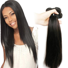 Wholesale remy hair extensions straight - 7A Indian Straight Virgin Hair Weave 3 or 4 Bundles 10-30inch Unprocessed Remy 100% Human Hair Weaving Extensions Natural Black 1B Wholesale