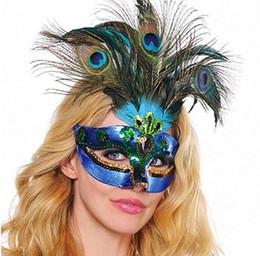 máscara de luxo de penas Desconto Máscara do partido Mulher Masquerade Mask Máscara de penas de pavão de luxo meia máscara facial Cosplay Halloween máscara veneziana