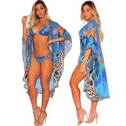 Argentina Pluma Leopardo Estampado de gasa Blusa Sexy Vendaje Bikini Split Traje de baño Traje de baño Bikini de verano Ropa de mujer Ropa de baño Suministro