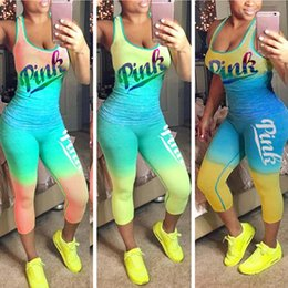 Wholesale american skiing - S-3XL Gradient Color PINK Letter Women Tracksuit Outfits Tank +Pants Tights Leggings Two Piece Summer Sportswear Casual GYM Jogger Suit