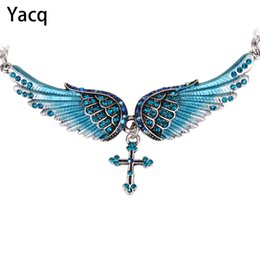 2020 joyas de guardián YACQ Angel Wing Cross Gargantilla Collar Guardian Mujeres Biker Crystal Jewelry Regalos Su Niña Color Plata NC01 Dropshipping (18 + 2)