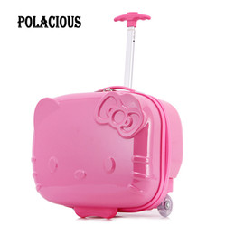 """Wholesale Trunk Suitcase Luggage - 17"""" inch hello kitty Cartoon trolley suitcase luggage Pull Rod trunk traveller case box for Women Girl Children Kids"""