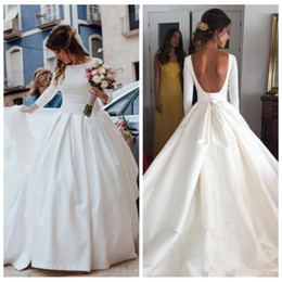 Wholesale Ladies Chart - 2018 Modest Cheap Satin Wedding Dresses Satin A Line Long Sleeves Lower Back Custom Bridal Gowns Formal Garden Vestidos De Mariage Ladies