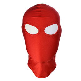Wholesale Locking Hood Leather - 2018 BDSM Bondage Leather Hood for Adult Play Games Full Masks Fetish Face Locking Blindfold for Sex
