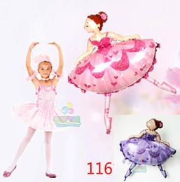 Wholesale Ballet Dance Gifts - Wholesale-10pcs lot Big size dancing Ballet girl Balloons party Decoration Christmas Birthday gift cartoon Princess BALLERINA GIRL Balloon