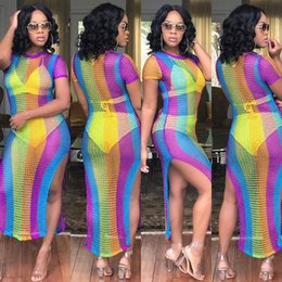 799bf24601 2018 summer bikini Cover Up Swimwear Women Sexy Slim Mesh Knitted Crochet  Beach swimsuit cover up Rainbow Stripes Women Bandage Sexy Club