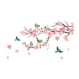 Wholesale Small Pink Sofa - Birds Peach Blossom Pink Applique Home Sitting Room Sofa Background Wall Stickers The Bedroom Stickers To Decorate Wall