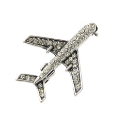 Wholesale pin sign - Classic Women Plane Brooch Pin Stewardess Logo Pilot Badge Austria Rhinestone Brooches Broches Sign Jewelry Lucky Flying Corsage