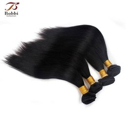 Wholesale One Piece Black Hair Extensions - Silky Straight Human Hair Weave Virgin Human Hair Extensions Brazilian Human Hair Weft 3 Pieces One Set