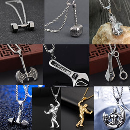 Wholesale Punk Accessories Titanium - Sports strength bodybuilding necklace men chain with pendant Punk Hip Hop jewelry fantasy accessories for men Titanium steel necklaces