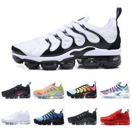 Wholesale pack plus - Zebra Vapormax TN Plus Shoes Men Shoes TRIPLE BLACK Black red Cool Grey For Running Male Shoe Pack Triple Black Mens Shoes 40-45