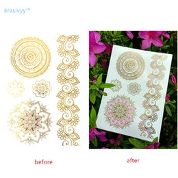 Wholesale Flower Butterflies Tattoos - Gold Temporary Tattoos Changing Color in the sun Jewelry Flash Body Art colourful mandala flower butterfly Sexy Flash tattoos