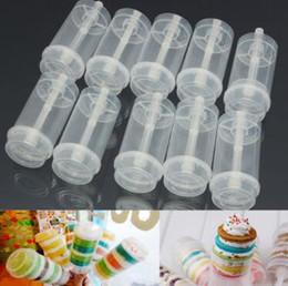 Pops de plástico online-Push Up Pop Containers Nuevo Plastic Push Up Pop Cake Containers Tapas Tiradores Boda Decoraciones de fiesta de cumpleaños CCA9563 1000 unids