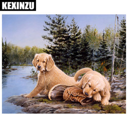 Wholesale Paint Dogs - 2018 New Arrival 5D DIY diamond embroidery dog with River diamond painting Cross Stitch full square Rhinestone mosaic home decoration