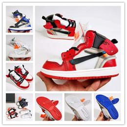 Niños azul marino zapatos niñas online-Diseñador de lujo Kids 1s Space Jam Bred Concord Gym Rojo fuera de los zapatos de baloncesto Niños Boy Girls blanco Midnight Navy Zapatillas de deporte Niños pequeños