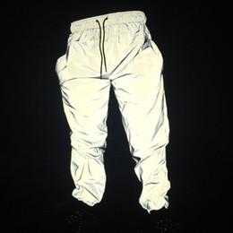 reflektierende joggerhose Rabatt Free Drop Shipper Jogger Männer reflektierende Hosen Männer Hip Hop Frauen tanzen tanzen Nachtlicht glänzend blinken lange Hosen