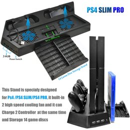 Controlador de carga ps4 online-Ventilador de ventilador vertical PS4 Pro Slim con estación de carga de controlador dual y 3 puertos HUB adicionales para Sony Playstation 4 PS4
