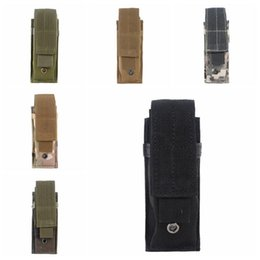 Borse molle camo online-Tactical Molle Pouch Tactical Single Pistol Magazine Pouch Knife Torcia Flash Sheath Airsoft Caccia Munizioni Camo Borse Tactical Marsupio.