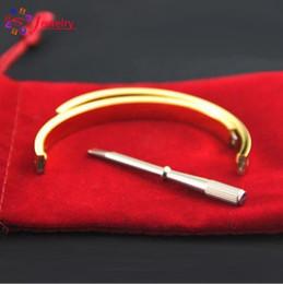 Wholesale love bracelets for couples - 316L Titanium Steel Luxury Brand Screwdriver Bracelets for Women and Men Couple Bracelets with Original Bag Love Bangles